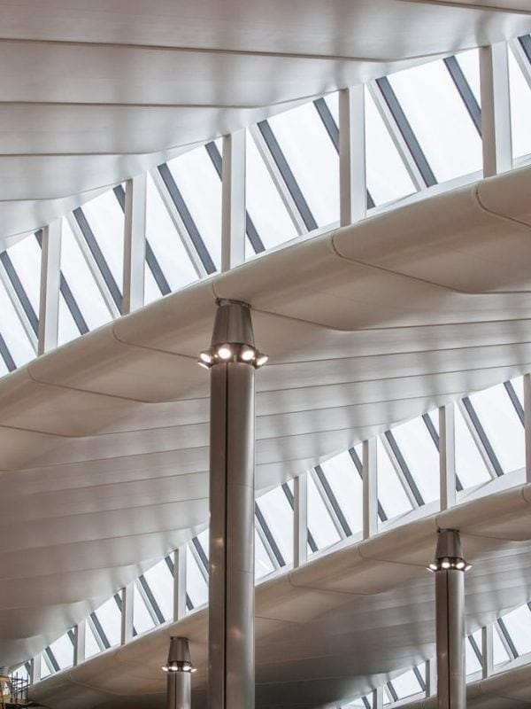 Heathrow, Terminal 2, roof architecture, January 2014.
