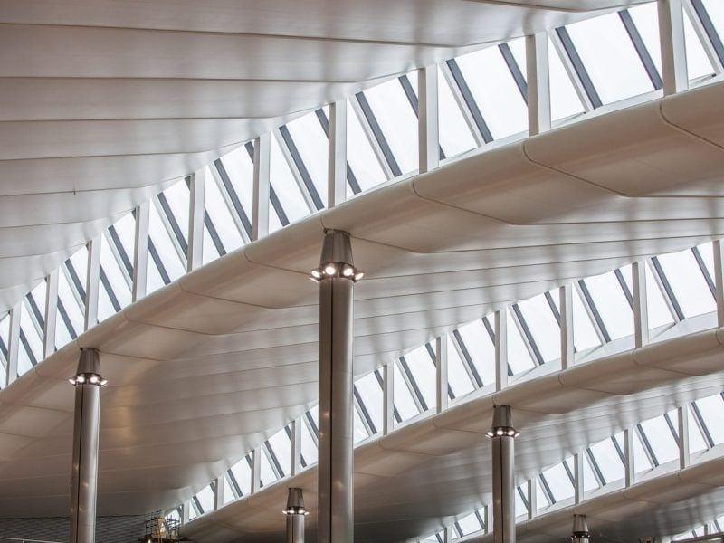 Heathrow, Terminal 2, roof architecture, January 2014.