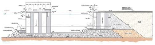 Cross-section of breakwater with buffer channel