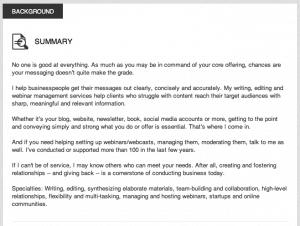 summary linkedin profile