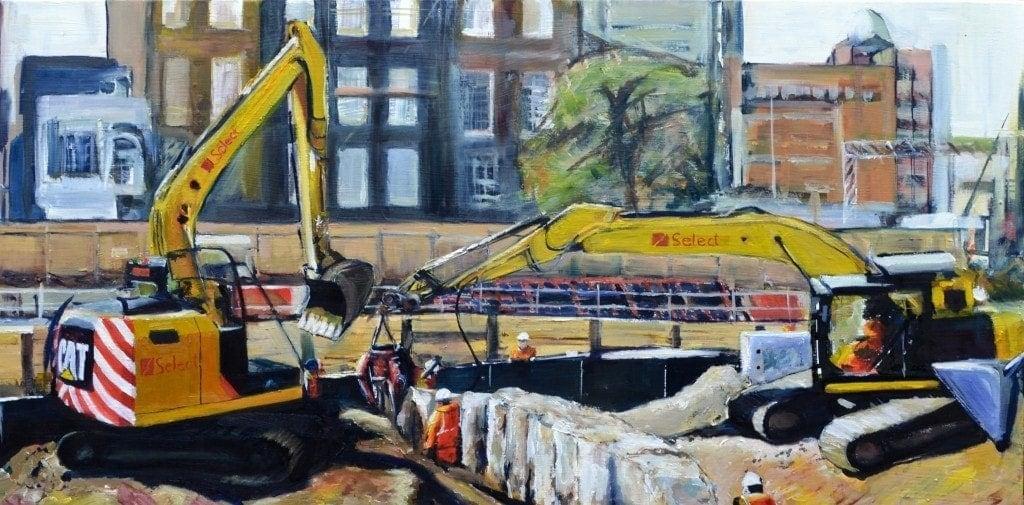 Tom Cox pintando el paisaje urbano
