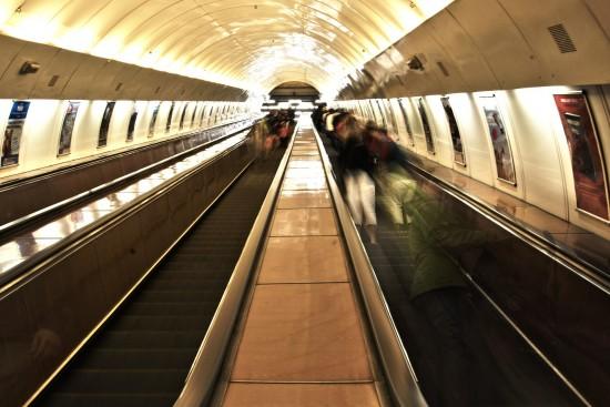 Metro station escalator