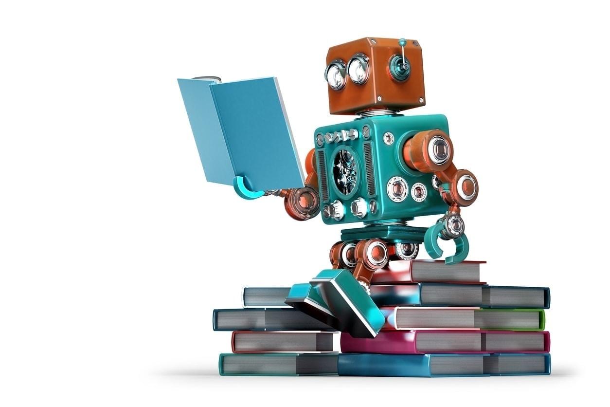 Retro robot reading a book teaching robots