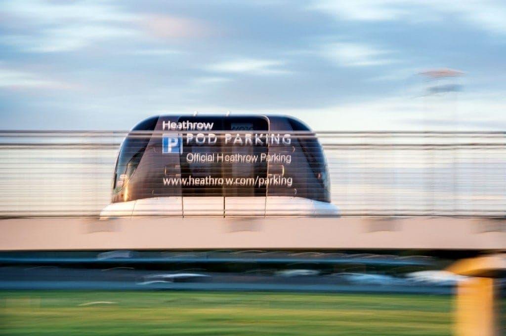 vehículos autónomos pod aeropuerto de heathrow