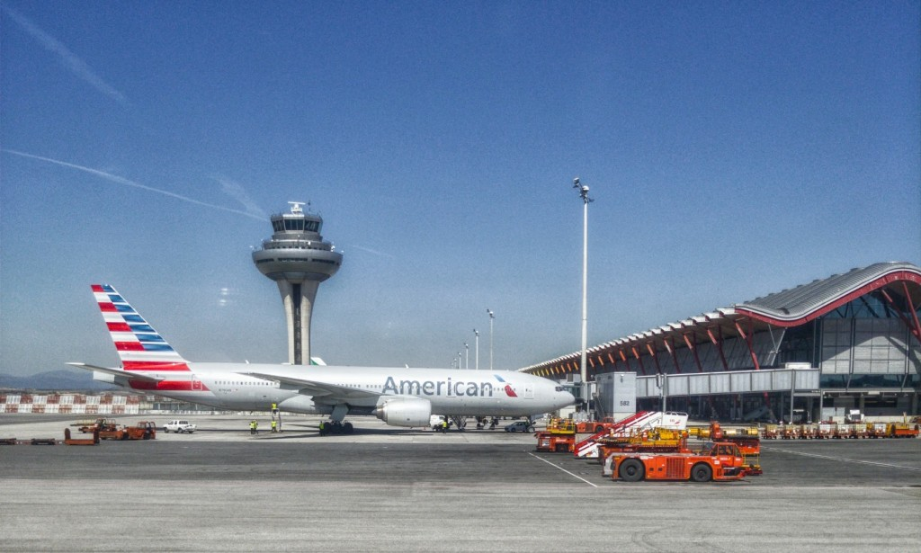 plane on  runway airport