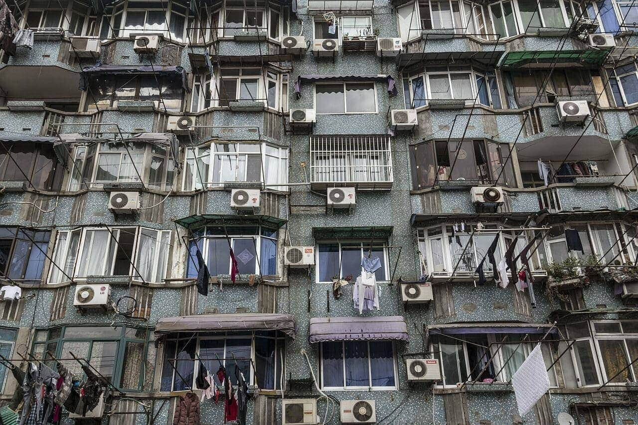 air conditioners on a facade