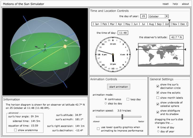 Simulador orientación del sol