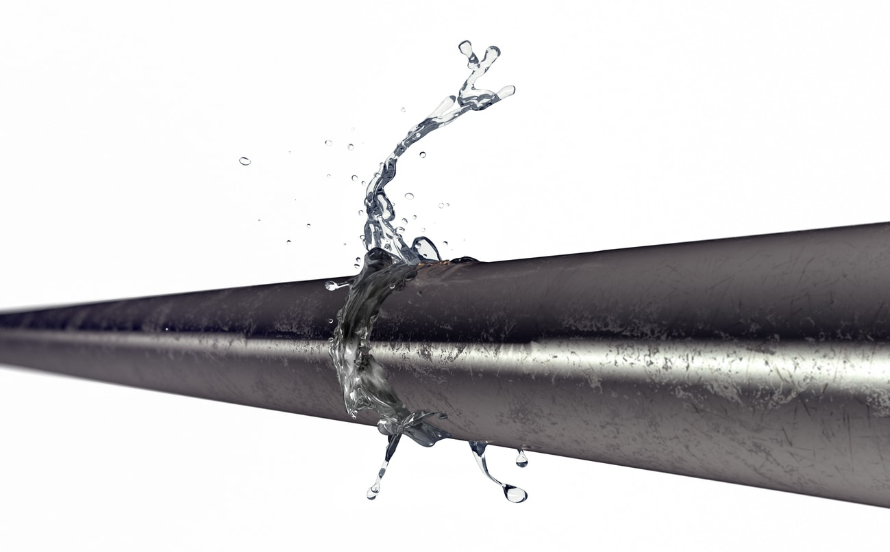 Illustration of pipe with a break