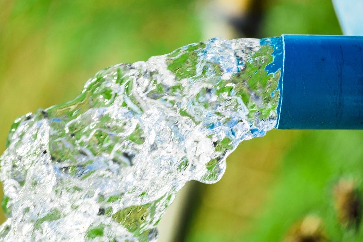 agriculture pipe from which running water
