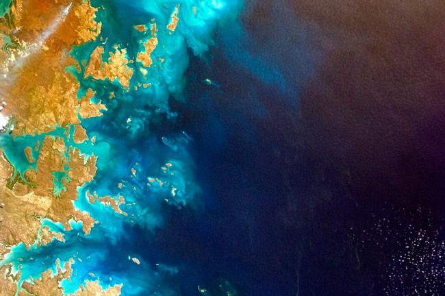 vista de satélite de la costa de Australia
