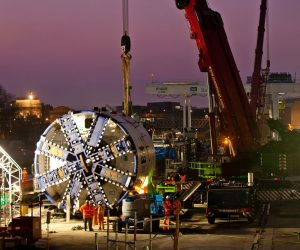 Preparing one of the tunnelling machines