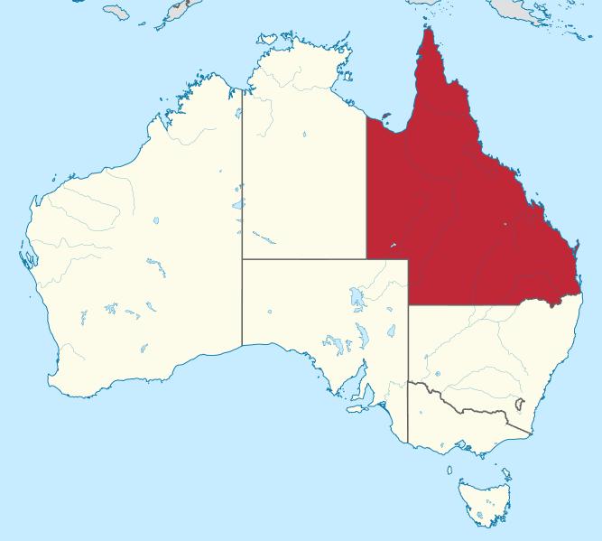 Imagen del mapa del Estado de Queensland en Australia