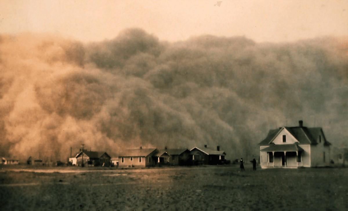 Imagen de una de las famosas tormentas de polvo en Texas