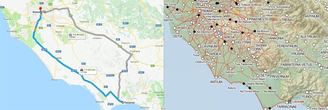 90 km distance and route between Rome and Terracina