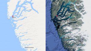 Nuuk to Qeqertarsuatsiaat satelite map