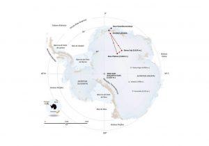 Ruta que recorrerá el trineo en su tercera aventura antártida.