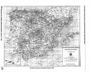 Mapa con la red de carreteras de España en 1987