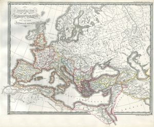 Map of the Roman Empire, now divided, circa 330 A.D.