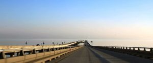 The view from the bridge over Lake Pontchartrain, in Louisiana, USA