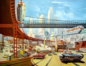 retrofuturism city ilustration