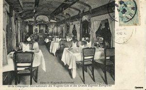 Una postal antigua que muestra el vagón restaurante del Orient Express, ca. 1910. Es una de las escasas fotografías publicadas.