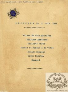 carta de comedor de tren 1925