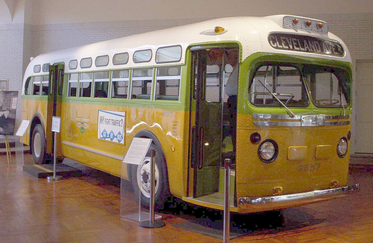 Original bus, restored, where the incident between Rosa Parks and James Blake occurred.