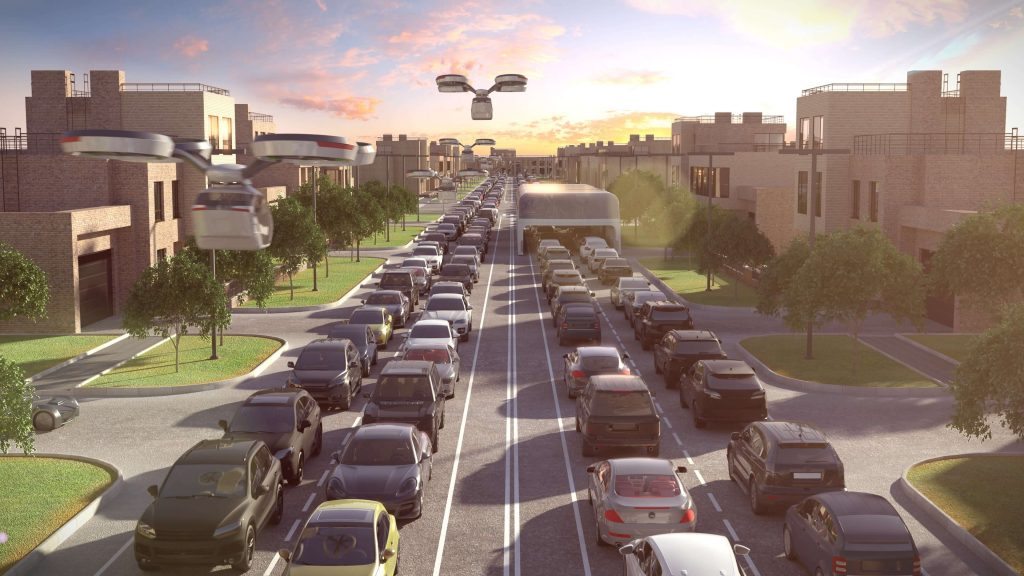 Digitized design about the future of traffic and transport, cars, drones, etc.