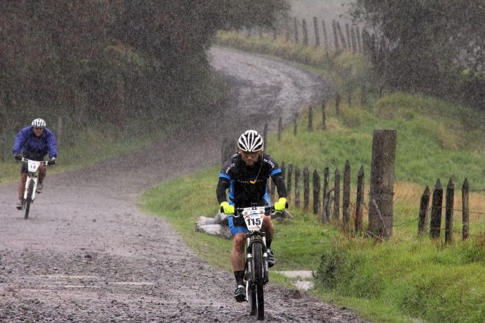Photo of a mud road and a cyclist