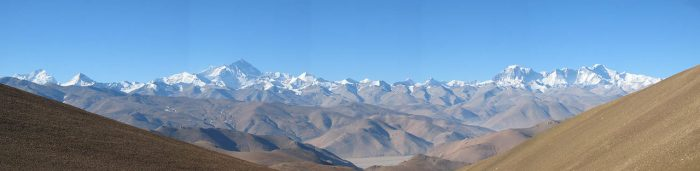 Photo of the Himalayan mountain range and Everest