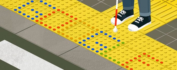 Drawing of the tribute from Google to Miyake where a stretch of podotactil pavement and a blind person can be seen