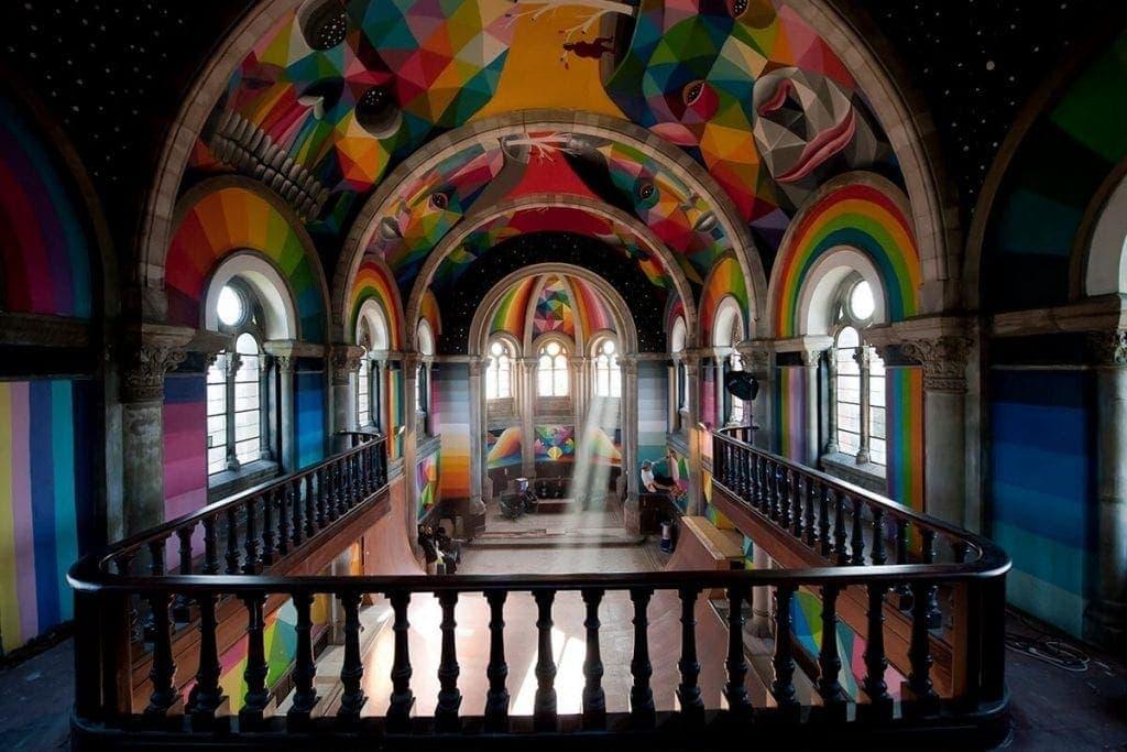 Iglesia en Asturias transformada en parque para skaters con obras y reforma del artista Okuda