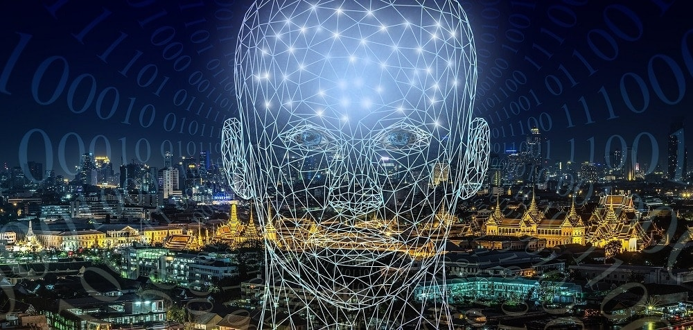 An image of the head of a virtual human being with many points plotted as a data union. City background