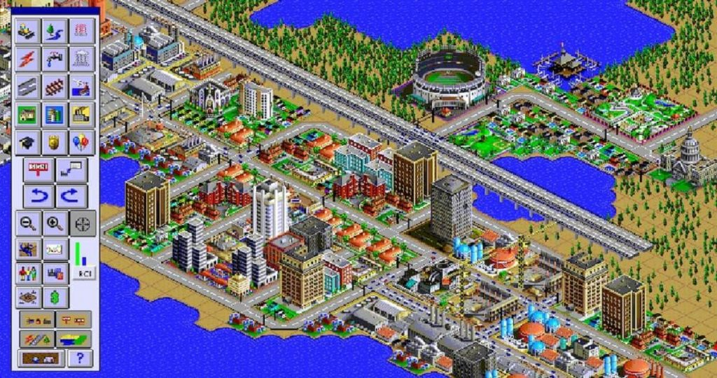 Screenshot of an image of the city of the game