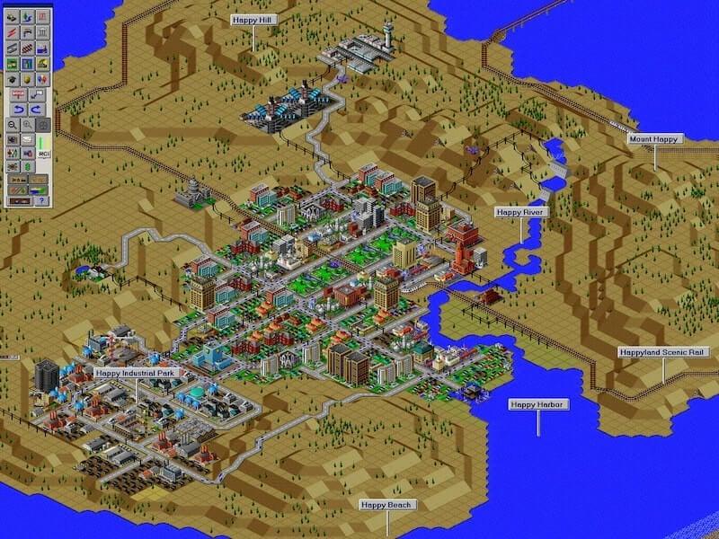 Imagen de cómo se va desarrollando la ciudad en el video, terrenos que rodean a la ciudad, el mar, cómo se va distribuyendo