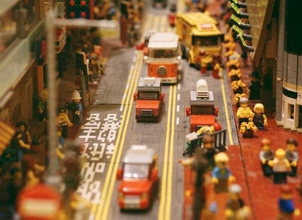 photo of a city built with Lego