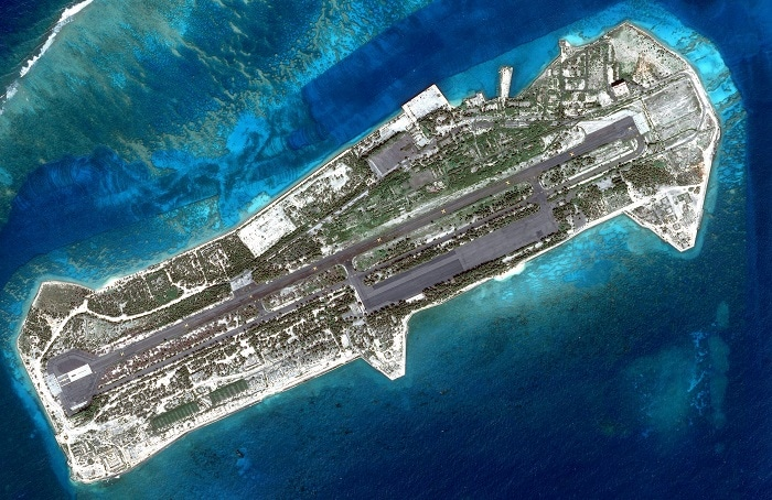 Aerial view of the abandoned airport in the Johnston Atoll.
