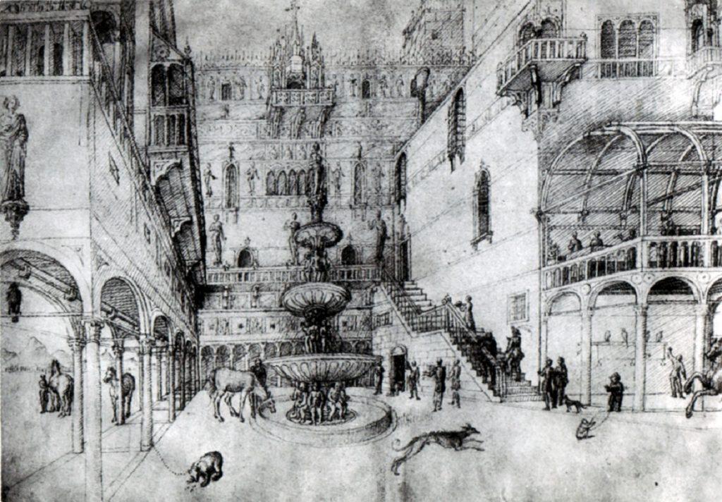 Dibujo de ciudad realizado por Leonardo Da Vinci