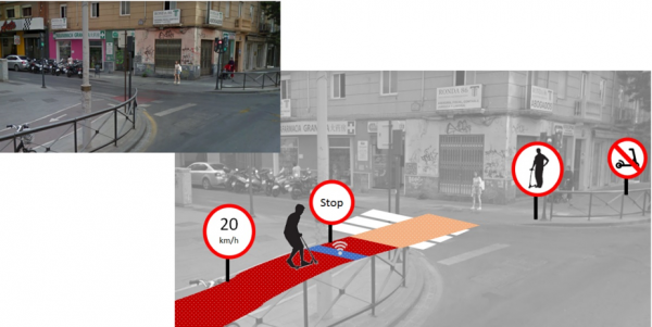 Asphalt with Magnetic Encoding to Transmit Signals to Electric Scooters in Cities