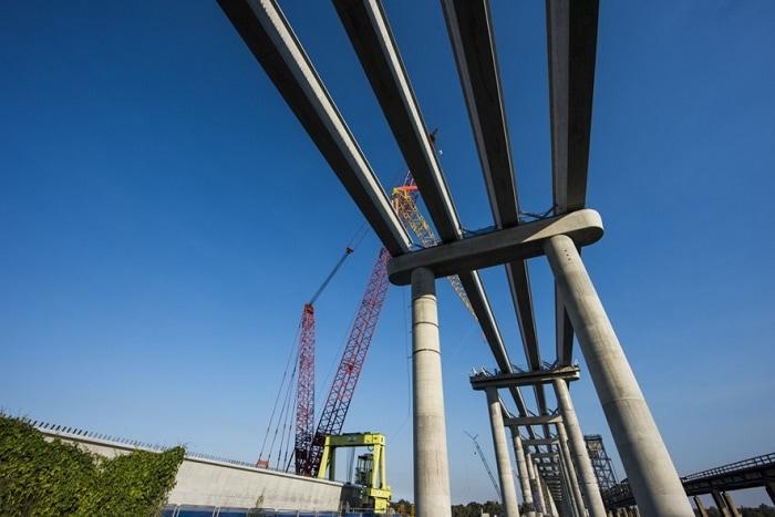 Beams placed on the pillars of the new Harwood Bridge