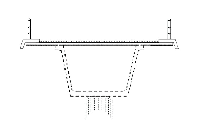 Section of a U-beam or channel girder
