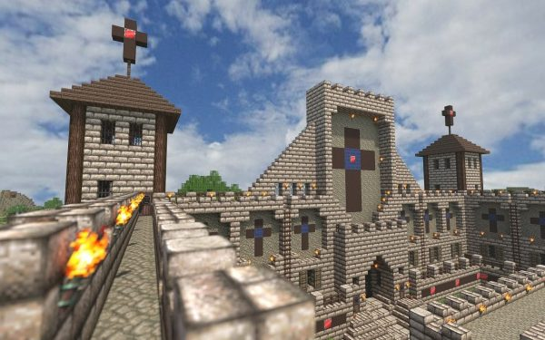 A castle in Minecraft.