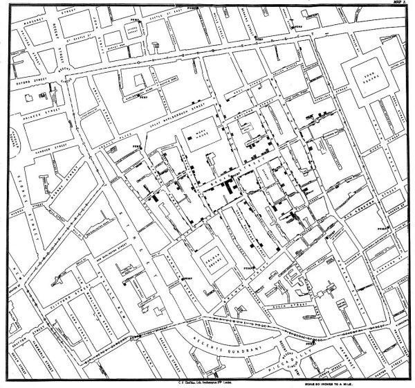 John Snow's map of the cholera