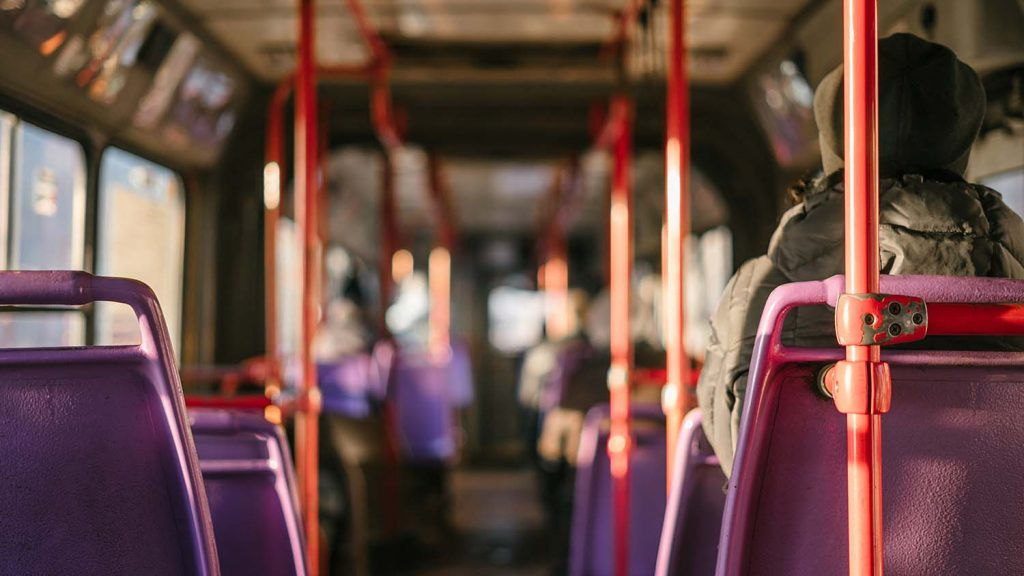 interior of an empty bus