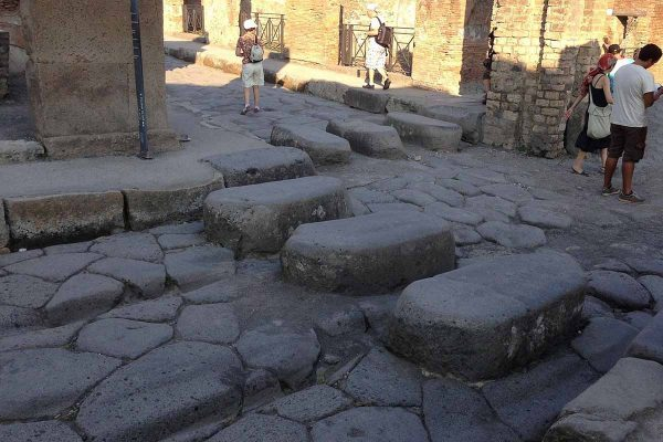 Pedestrian crossing preserved in the ruins of Pompeii