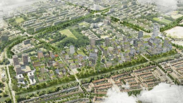 Merwede district in Utrecht aereal view