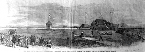 Game between the Philadelphia Athletics and Brooklyn Resolute at Union Grounds, Brooklyn (1865)