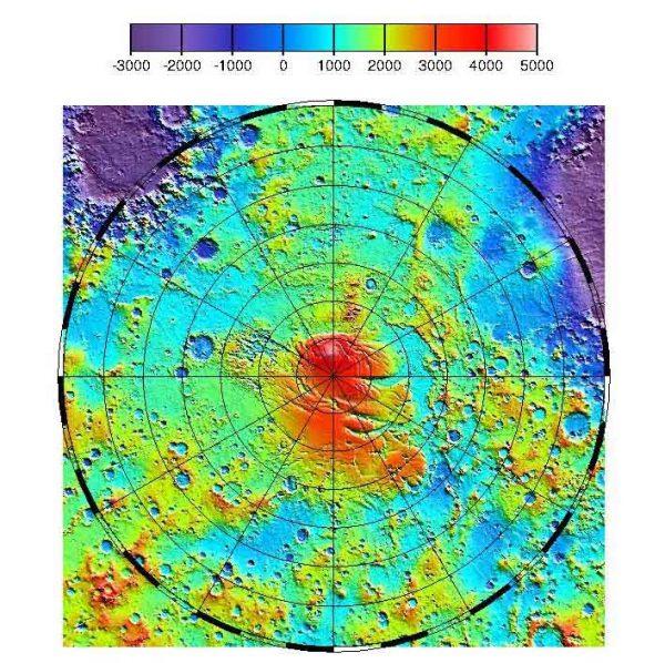 Mapa topográfico elaborado por el instrumento MOLA de la NASA