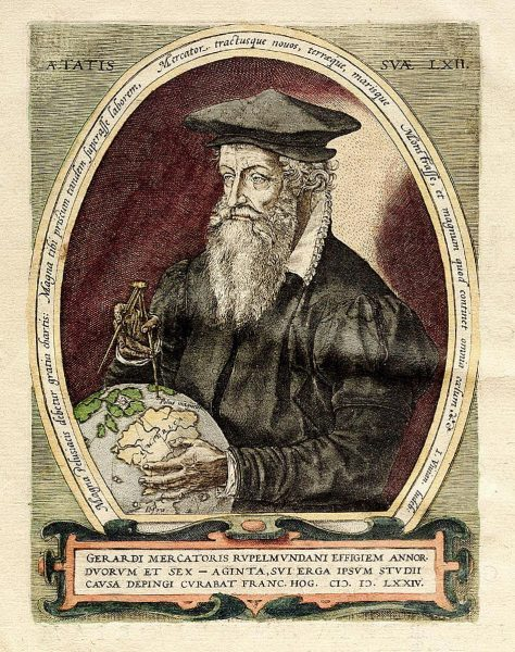 Painting by Frans Hogenberg of Mercator pointing to the magnetic north pole.