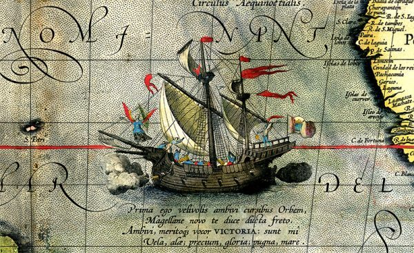 Detail of a map showing Magellan's ship Victoria on his expedition across the Pacific Ocean. Wikimedia.